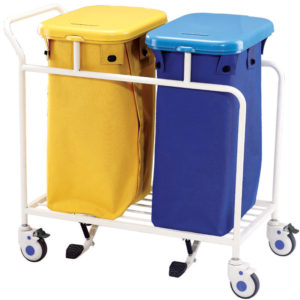 Pedal laundry trolley